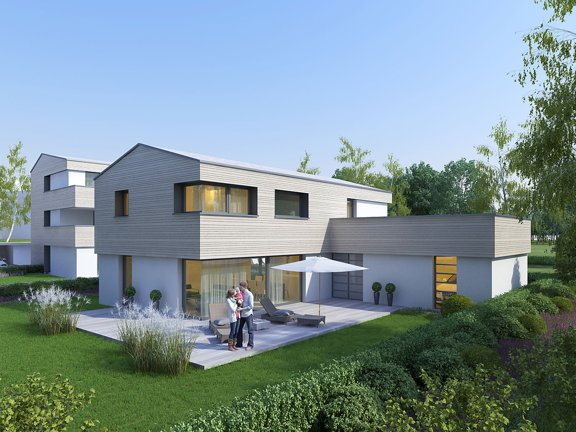 immocontec-Bauprojekt: Visualisierung eines Einfamilienhauses der Alten Weberei in Oberviechtach