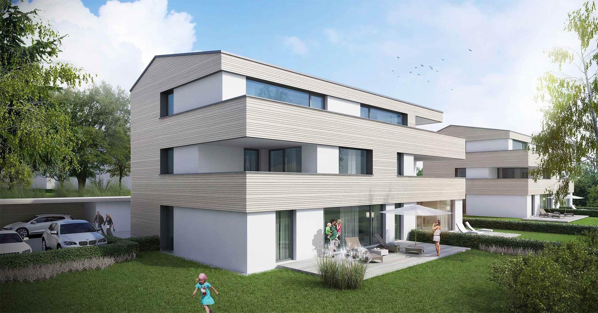 immocontec-Bauprojekt: Außenansicht der Häuser an der Alten Weberei