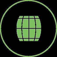 Grünes Fass als Icon für den Holzrahmen