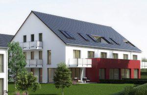 immocontec-Bauprojekt: Gesamtansicht des Haus 2 in den Regentalgärten in Nittenau
