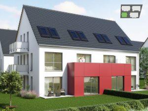 immocontec-Bauprojekt: Gesamtansicht von Haus 1 in den Regentalgärten in Nittenau