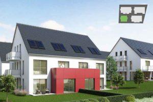 immocontec-Bauprojekt: Gesamtansicht des Haus 1 in den Regentalgärten in Nittenau mit Übersichtskarte