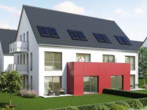 immocontec-Bauprojekt: Neue Gesamtansicht von Haus 1 in den Regentalgärten in Nittenau