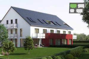 immocontec-Bauprojekt: Gesamtansicht des Haus 2 in den Regentalgärten in Nittenau mit Übersichtskarte
