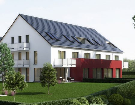 immocontec-Bauprojekt: Neue Gesamtansicht von Haus 2 in den Regentalgärten in Nittenau