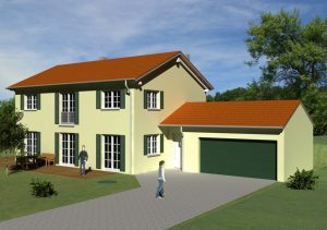 immocontec: Visualisierung eines Einfamilienhauses mit Doppelgarage