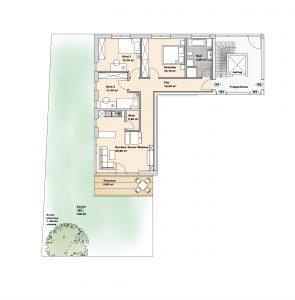 immocontec-Bauprojekt: Grundriss von Haus 2 Wohnung 1 in den Regentalgärten in Nittenau