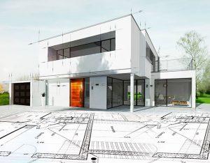 Moderne Immobilie hinter einem Grundriss auf dem Boden
