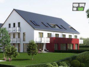 immocontec-Bauprojekt: Gesamtansicht von Haus 2 in den Regentalgärten in Nittenau