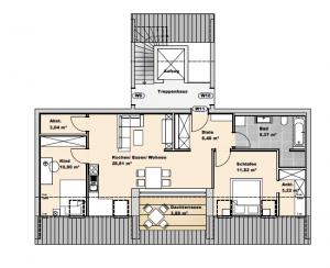immocontec-Bauprojekt: Grundriss von Haus 3 Wohnung 11 in den Regentalgärten in Nittenau