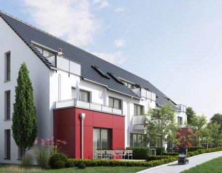 immocontec-Bauprojekt: Neue Gesamtansicht von Haus 3 in den Regentalgärten in Nittenau