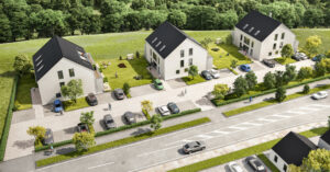 immocontec-Referenz: Außenansicht des NiWo³ in der Deuerlinger Straße in Nittendorf